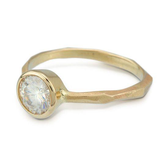 Thin chiseled engagement ring