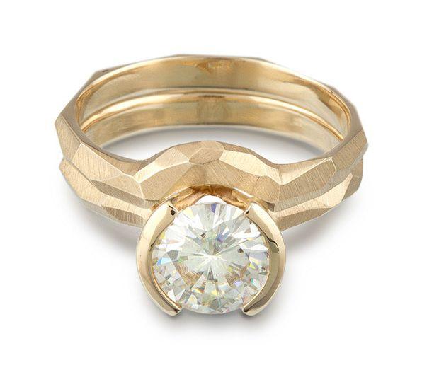 Partial bezel moissanite chiseled ring
