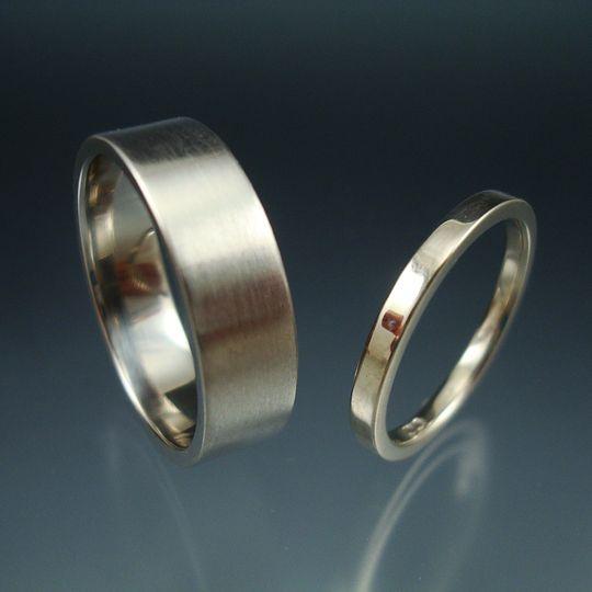 Palladium matte ring and white gold polished ring