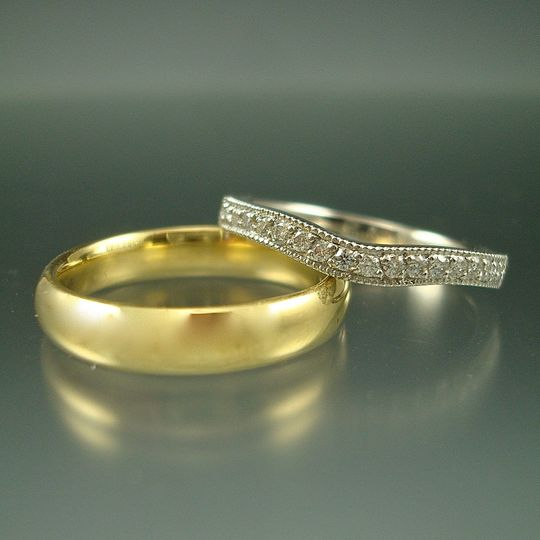 Gold ring and paved diamond ring