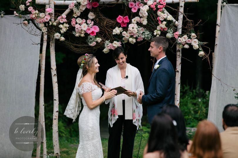 Backyard Wedding Ceremony under Wood Arbor, Belchertown, MA