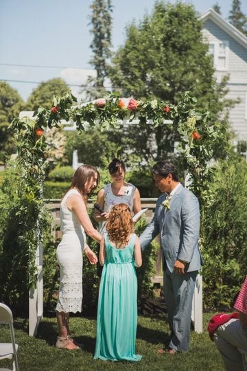 Backyard Wedding Ceremony with Child, Holyoke, MA