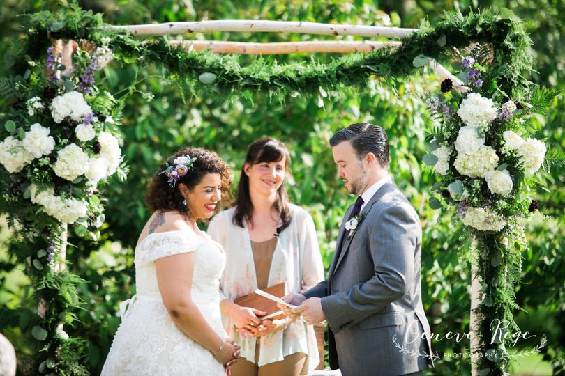 Outdoor Wedding Ceremony under Wood Canopy, Quonquont Farm, Whately, MA