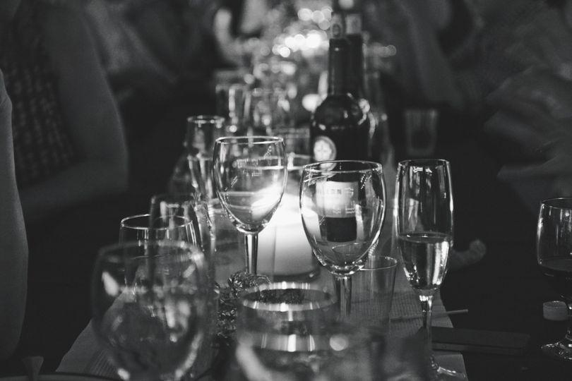Wine glasses displayed on table