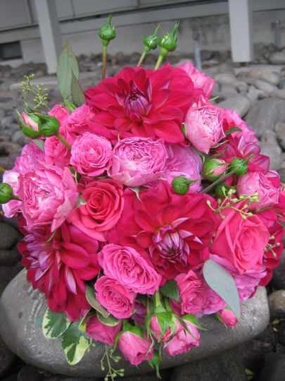 Bridal bouquet in shades of pink including dahlias and garden roses