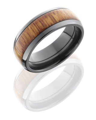 8mm Black Zirconium, Domed Band w/ 1 - 5mm Osage Orange Wood Groove, Polish Finish