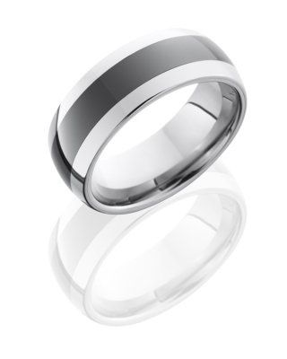 8mm Domed Tungsten w/ Ceramic Band, Sandblast Finish