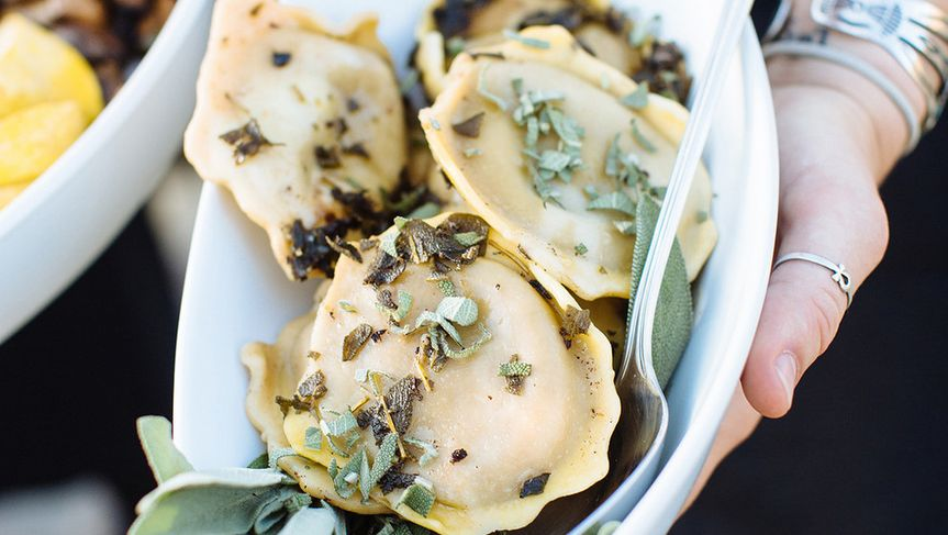 Portobello mushroom ravioli with a brown sage butter