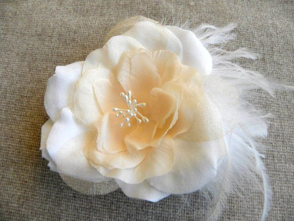 Josephine White and Peach Hair Flower with Ostrich Feathers