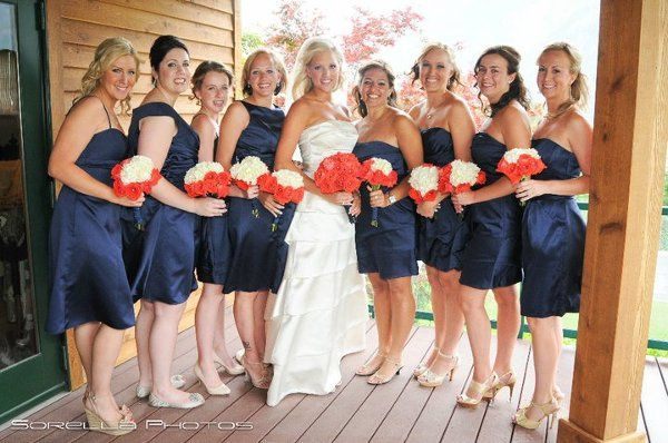 Bridesmaids bouquets I did | Salmon roses with white Hydrangea's. They turned out amazing!