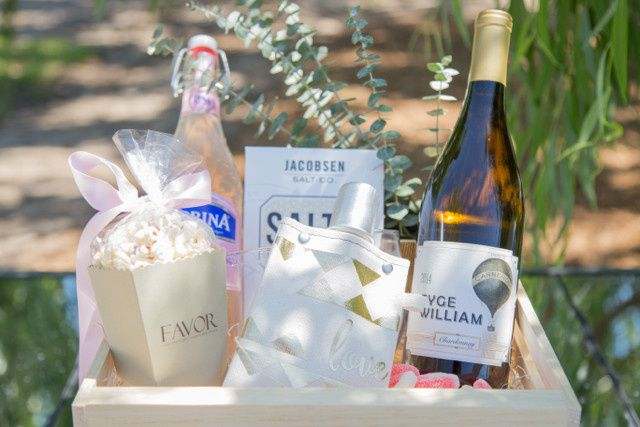 Gorgeous wedding welcome box created by Favor for The Barn at Tyge William Cellars in Sonoma,...