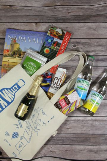 A Napa Valley classic...'map & bottle' tote bag full of local Wine Country goodies! By Favor.