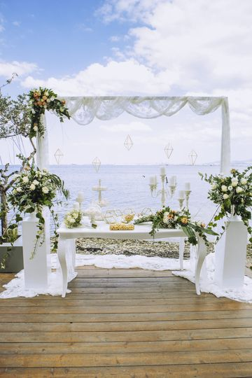 Ceremony arch by the sea