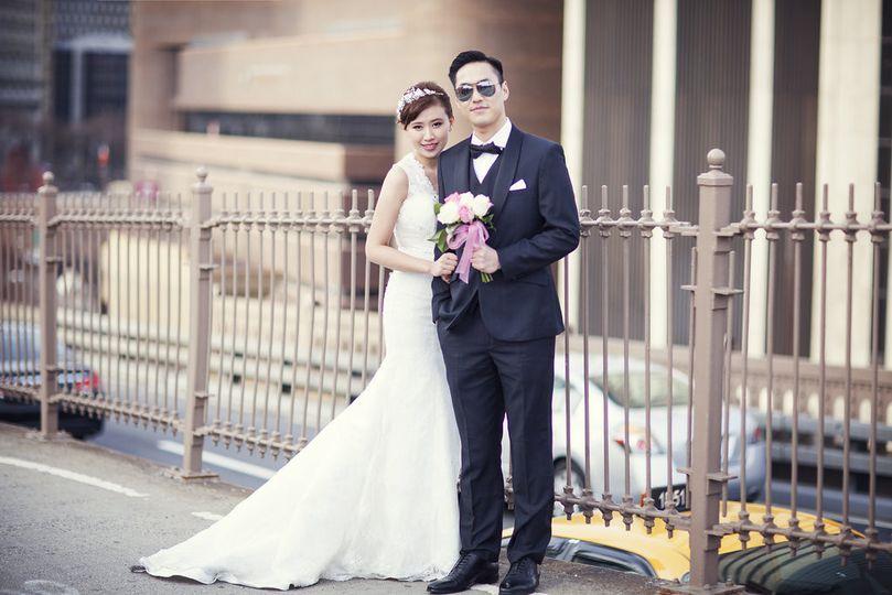 Wedding Portrait on Brooklyn Bridge