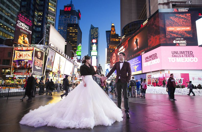 Wedding Portrait at Times Square