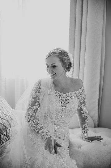 Bride in black-and-white