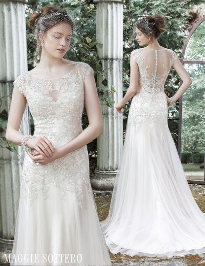 Wedding dress with mesh back