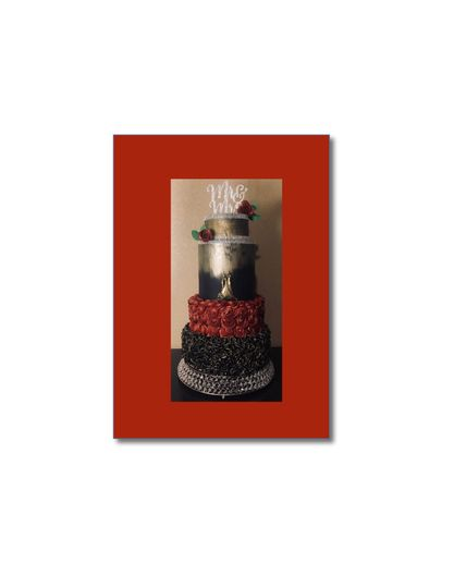 gold black and red cake 51 601198