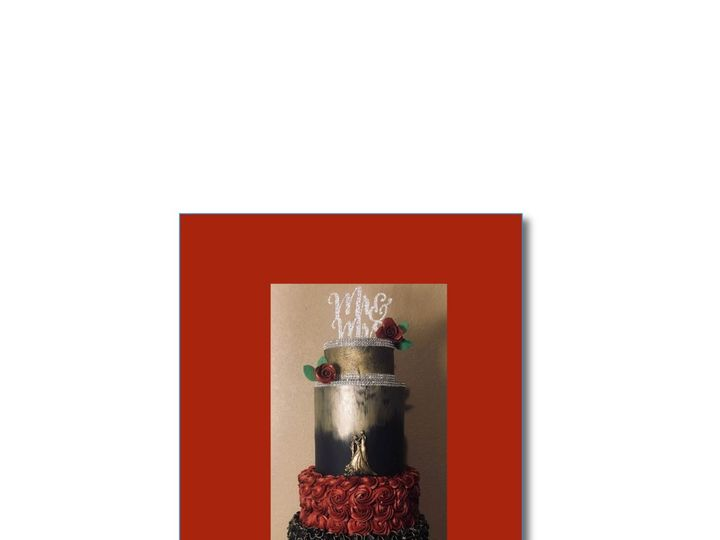 Tmx Gold Black And Red Cake 51 601198 Fort Collins, Colorado wedding cake