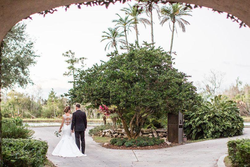 The newlyweds walking