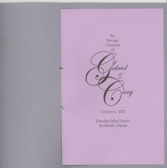 first page inside the wedding program for casey and gabriel