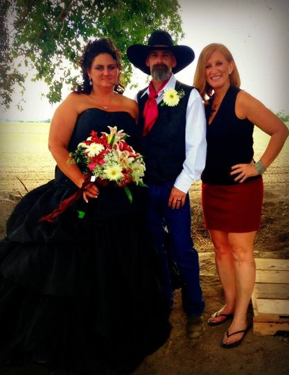 The couple and officiant