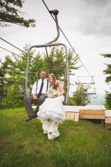 Couple on a chairlift
