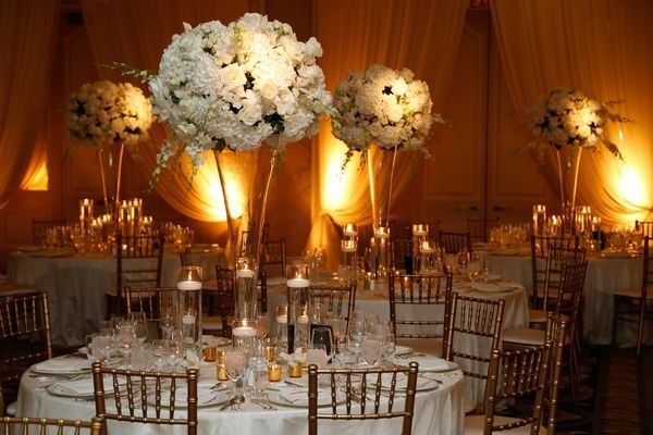 Tall flower arrangement centerpiece