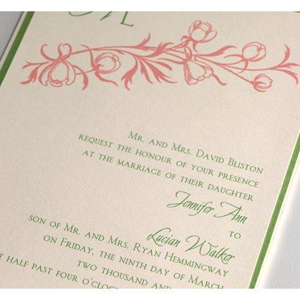 Beautiful Layered Pocket Invitation (Envelopment) with enclosures in coral and green