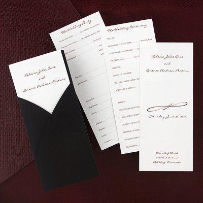Wedding Program enclosed in Black Wrap Pocket