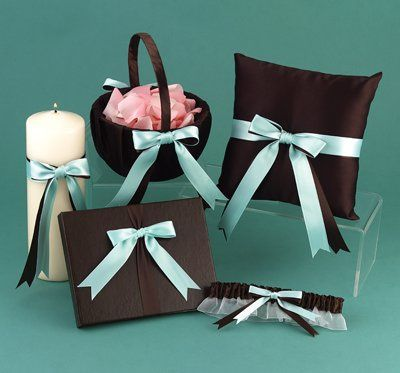 Tiffany Blue and Brown Wedding Ceremony Accessories: flower basket, ring bearer pillow, garter,...
