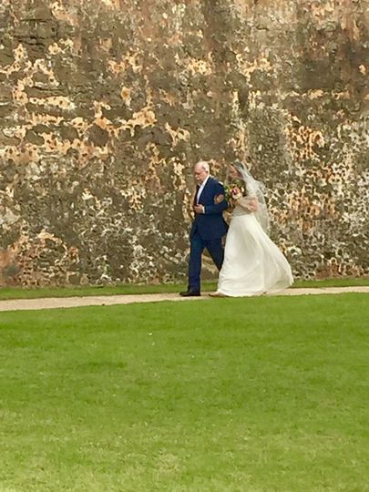Walking down the isle in a secret place in  Old San Juan!