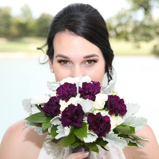 White and violet bridal bouquet