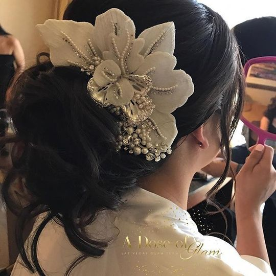 Bridal hair and headpiece
