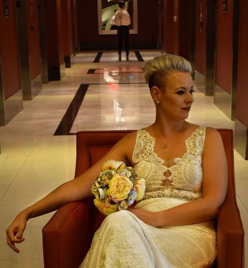 Bridal gown and hair