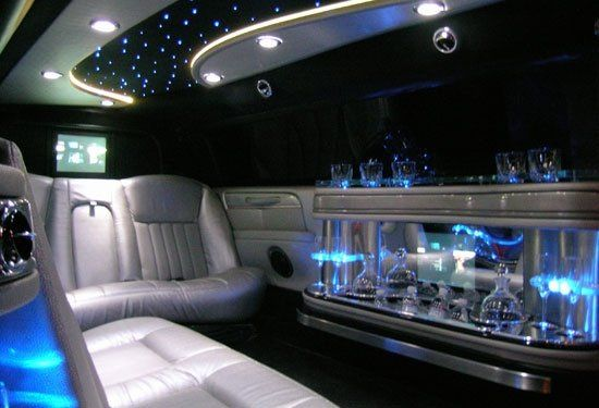 Interior of special white wedding limousine