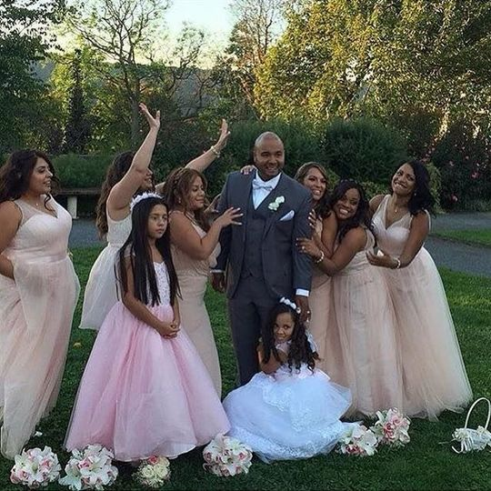 The groom with the ladies