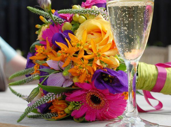 Bouquet and champagne glass