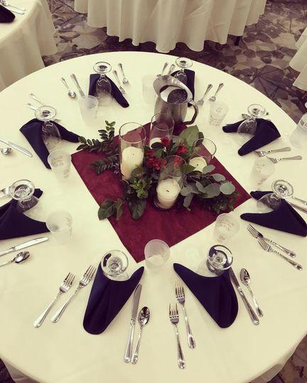 Table Setup - Burgandy & Navy