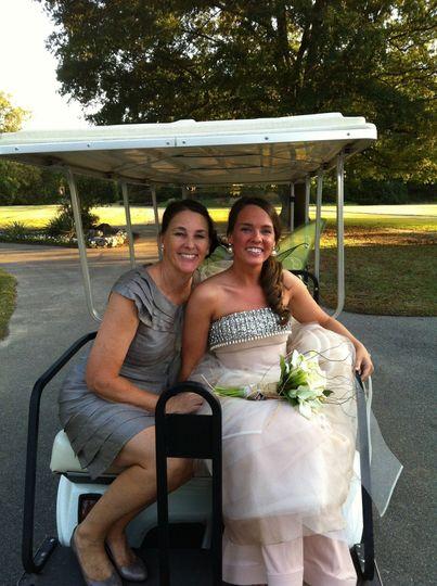 Bride in a golf cart