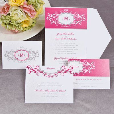 The lavish french kiss and platinum colored scrollwork patterns featured on this white card...