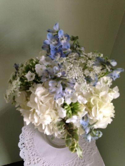 White with blue bouquet