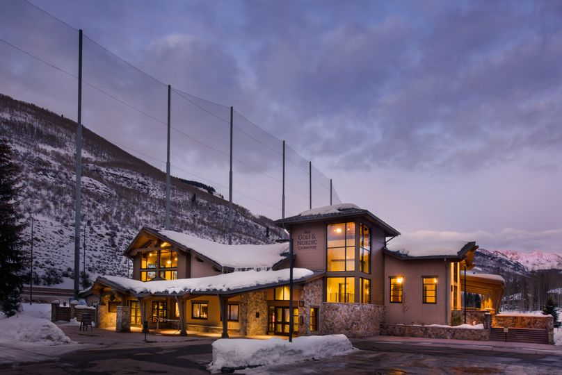 Exterior of the Vail Golf & Nordic Clubhouse in winter