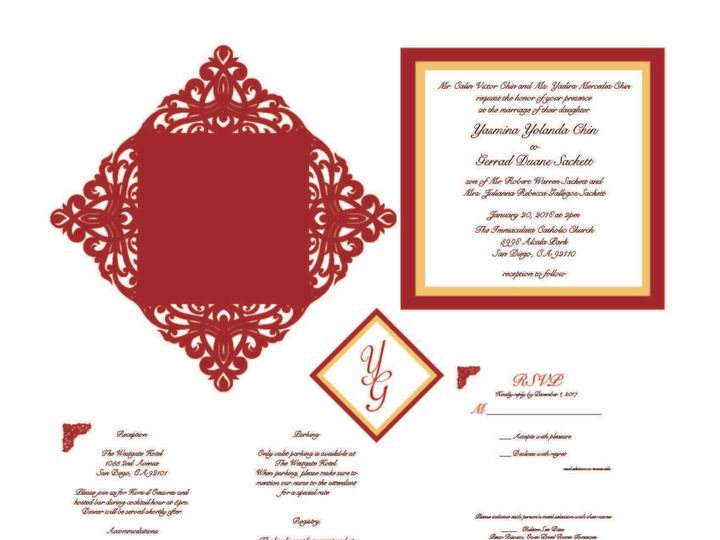 Tmx 1526006218 Fb233c22e9714388 1526006217 0fe485d6ef111efc 1526006210506 6 DieCutSquare Rancho Cucamonga, California wedding invitation