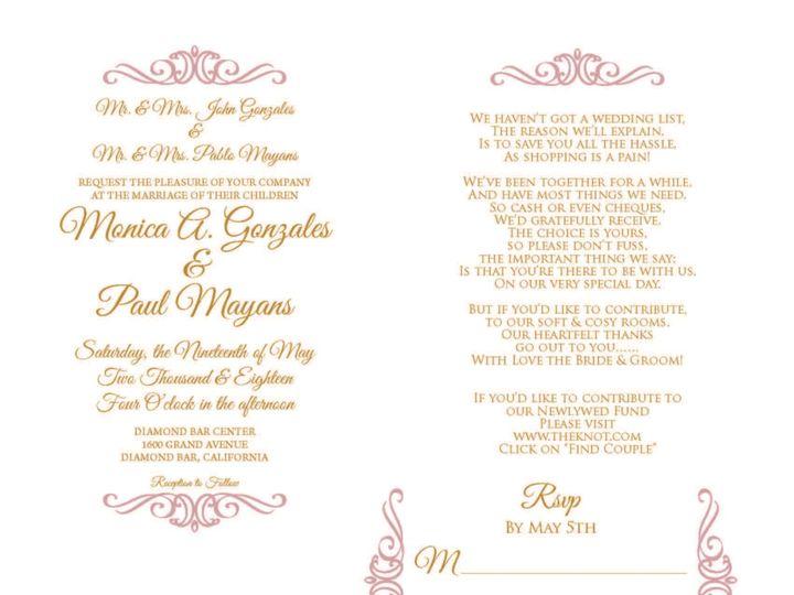 Tmx 1530851249 E82b440f1ee1e722 1530851248 9e78d0b584f8d2a2 1530851236848 5 CrownBorder Rancho Cucamonga, California wedding invitation