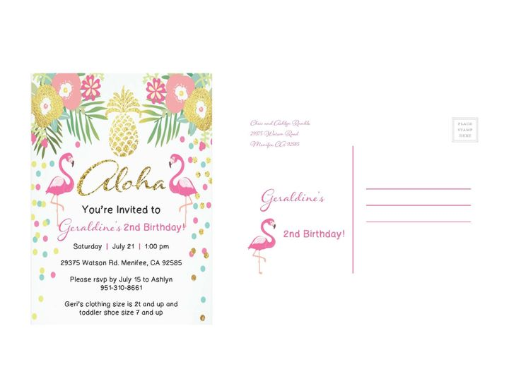 Tmx 1530851251 81c7a35fd2c83820 1530851248 17217893c0a6cb60 1530851236854 8 FlamingoPineapple Rancho Cucamonga, California wedding invitation