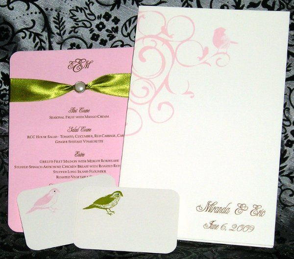 Matching menu card, program and escort cards.  Lori hemhill was the planner for this wedding event.