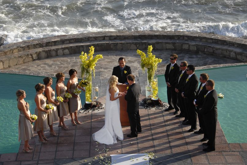 Sabrina and Aaron married at Los Rosas Hotel beach patio in Ensenada, Mexico.