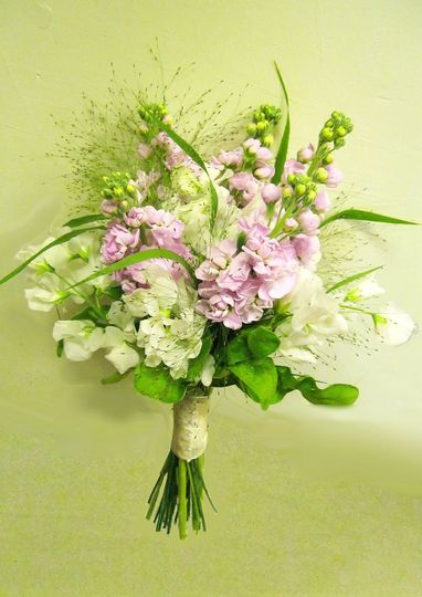 pink stocks white sweat peas cream and pink brides bouquet flowers