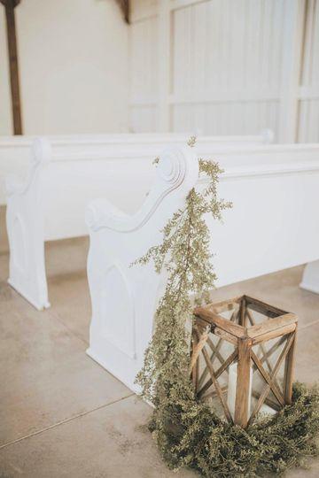White-washed church pews
